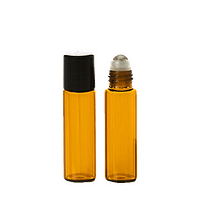 10ml Amber Thick Glass Roller Bottles Cap On and Cap Off